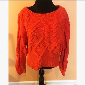 Anthropologie Orange Cable Knit Sweater